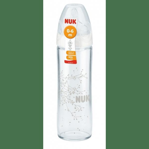 NUK Бебешко стъклено шише New Classic силикон 240мл 0-6м. 745.080
